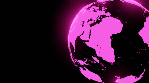 Pink holographic globe on black text space Animation