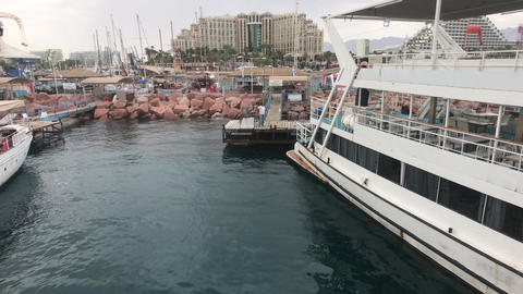 Eilat, Israel - Harbour of tourist yachts and ships part 2 Live Action