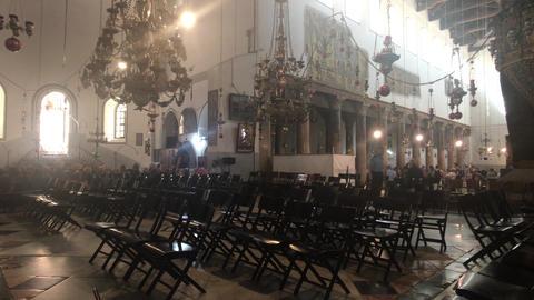 Bethlehem, Palestine - October 20, 2019: Basilica of the Nativity tourists Live Action
