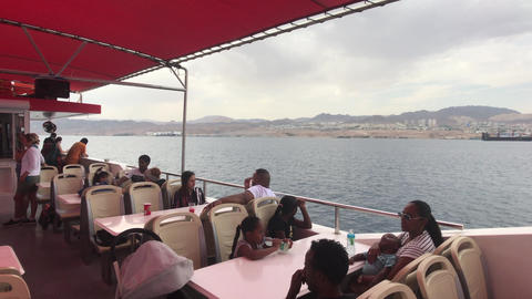 Eilat, Israel - October 24, 2019: tourists on a pleasure boat part 8 Live Action