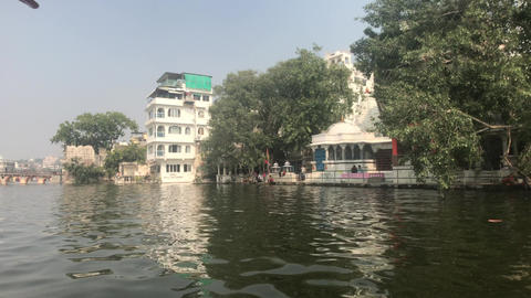 Udaipur, India - Walk on the lake Pichola on a small boat part 6 Live Action