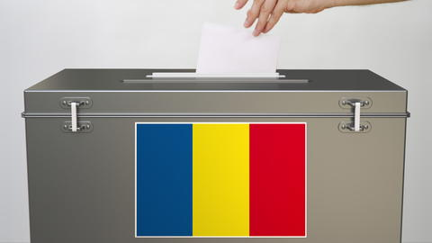 Ballot box with flag of Romania, election related 3d rendering Photo