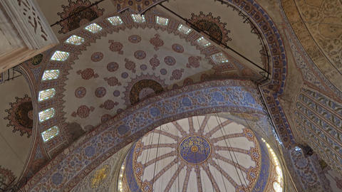 Interior of Blue Mosque or Sultanahmet Mosque Live Action