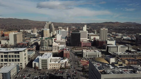 Aerial view. city with downtown in background during the day . USA ライブ動画
