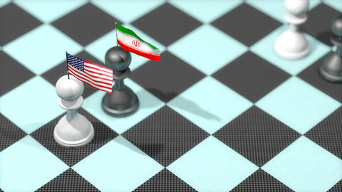 Chess Pawn with country flag, United States, Iran Animation