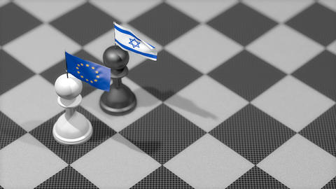 Chess Pawn with country flag, European Union, Israel Animation