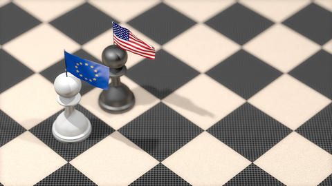 Chess Pawn with country flag, European Union, United States Animation