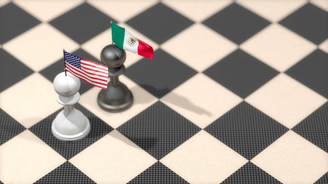 Chess Pawn with country flag, United States, Mexico Animation