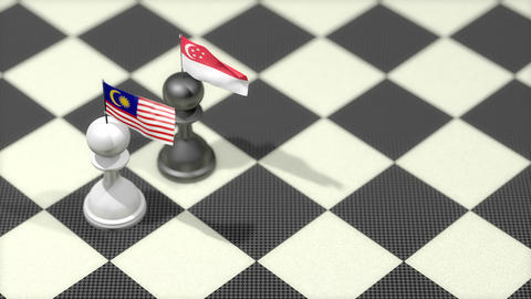 Chess Pawn with country flag, Malaysia, Singapore Animation