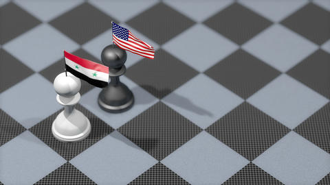 Chess Pawn with country flag, Syria, United States Animation