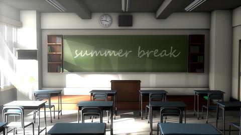 Classroom black board text, Summer break Animation