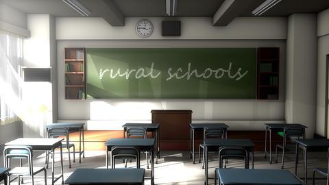 Classroom black board text, Rural school Animation