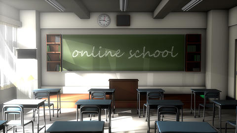 Classroom black board text, Online school Animation