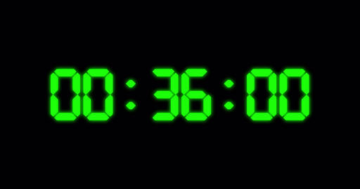 One minute countdown timer of glowing led green digits Animation
