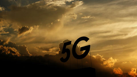 5G network sign installation over beautiful sunset Animation