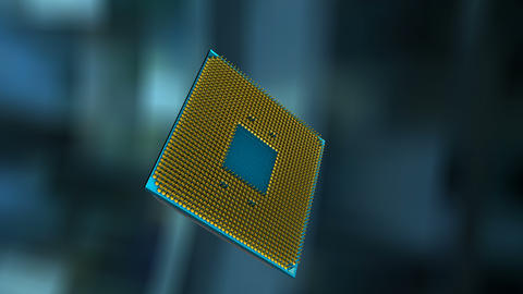 Artist rendering AI chip, Artificial Intelligence processing chip Animation