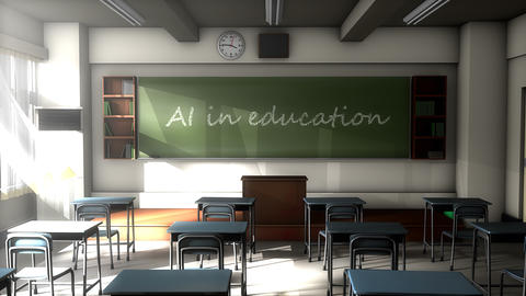 Classroom black board text, Artificial Intelligence in education Animation