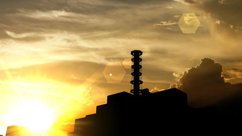 Chernobyl power plant, Russia over sunset, 3d animation Animation