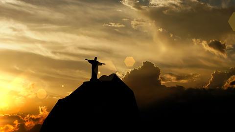 Christ the Redeemer, Brazil over sunset, 3d animation Animation