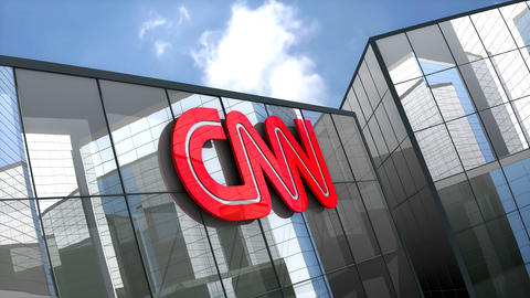 April 2019, Editorial CNN logo on glass building Animation