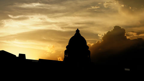 US Capitol building over sunset, 3d animation Animation