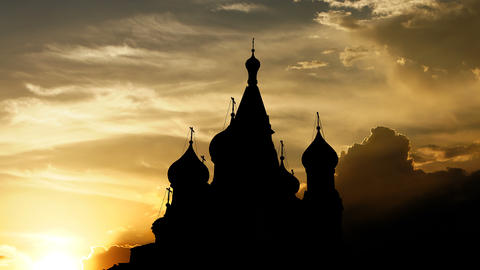 Saint Basil's Cathedral over sunset, 3d animation Animation