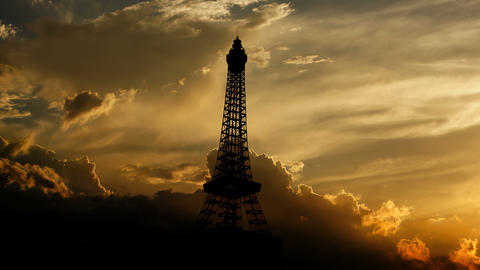 Eiffel tower over sunset Animation