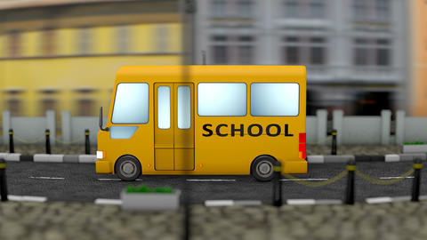 Kid school bus town background Animation