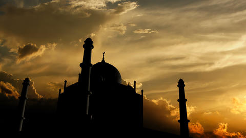 Taj Mahal over sunset Animation