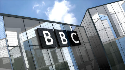 April 2019, Editorial British Broadcasting Corporation, BBC logo on glass building Animation