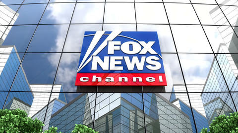 April 2019, Editorial Fox News Channel logo on glass building Animation
