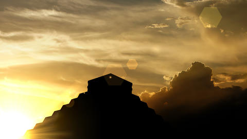 Mayan pyramid over sunset, 3d animation Animation