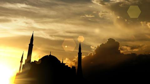 Hagia Sophia, Turkey over sunset, 3d animation Animation