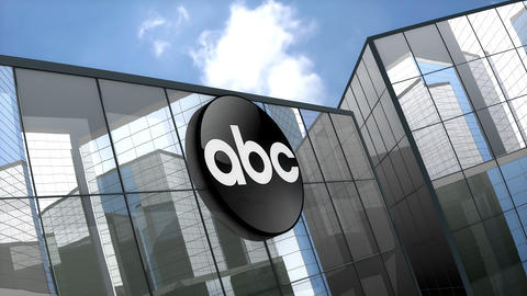 April 2019, Editorial American Broadcasting Company logo on glass building Animation