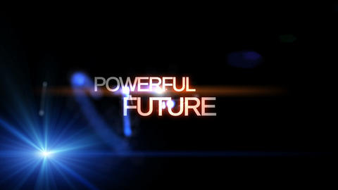 Futuristic technology light video animation with text POWERFUL FUTURE, loop HD Animation