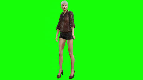 797 4k FASHION PHOTOGRAPHY 3D computer generated model presenting herself and walking Animation