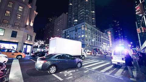 NEW YORK CITY - DECEMBER 2018: Street view of Manhattan night traffic, New York Live Action