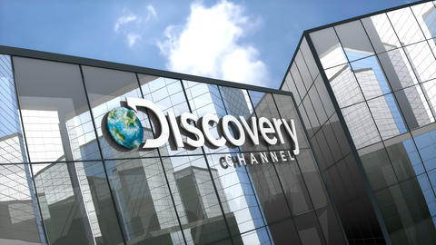 April 2019, Editorial Discovery Channel logo on glass building Animation