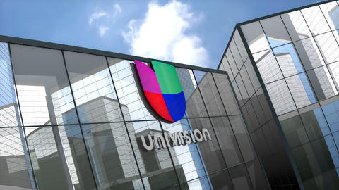 April 2019, Editorial Univision logo on glass building Animation