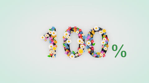 Numerical digit floral animation, 100 percent Animation