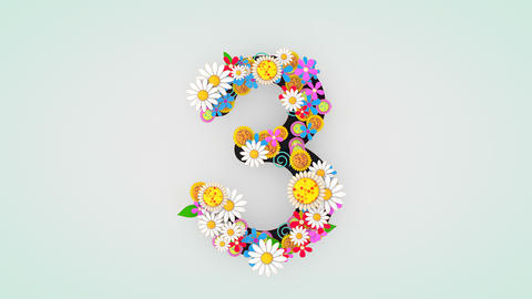Numerical digit floral animation, 3 Animation