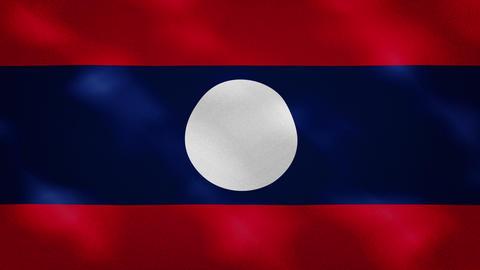 Laos dense flag fabric wavers, background loop Animation