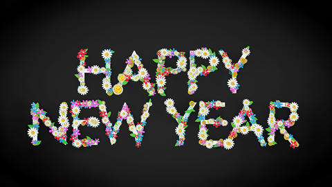 Happy New Year floral text background Animation