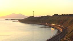 Twilight Express train by the sea, Hokkaido, Japan Footage