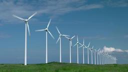 Wind turbines, Hokkaido, Japan Footage