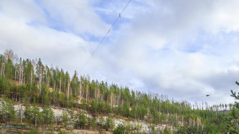Clouds over the forest. Russia. HDR, Time Lapse Footage