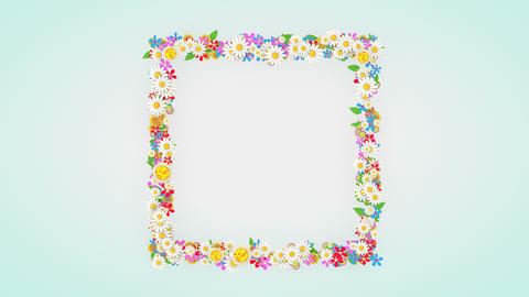 Floral frame placeholder background, flower animation Animation