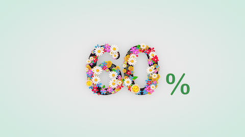 Numerical digit floral animation, 60 percent Animation