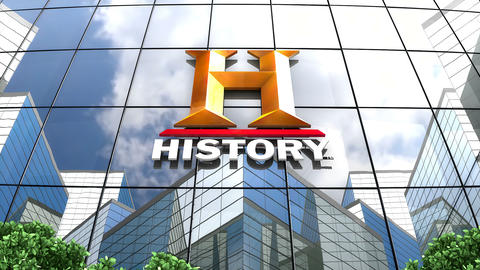 April 2019, Editorial History Channel logo on glass building Animation