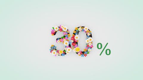 Numerical digit floral animation, 30 percent Animation